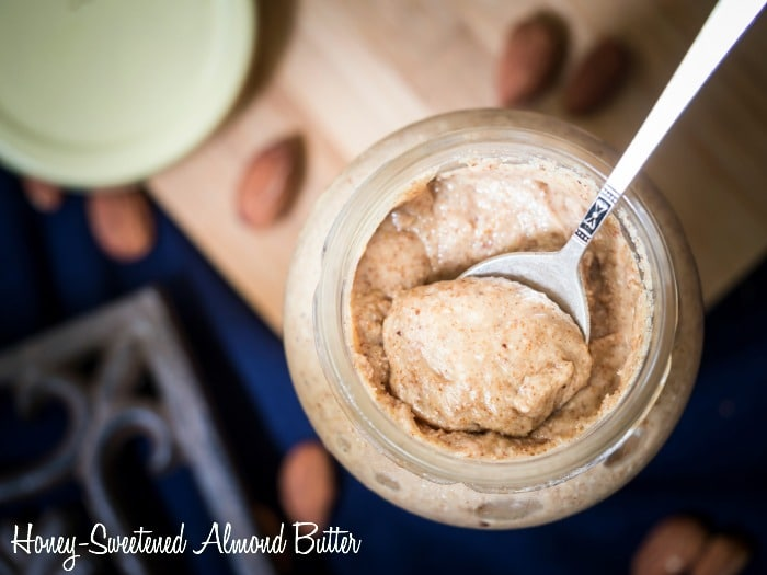 Honey-sweetened almond butter is the perfect mixture of sweet and salty and is as close to a candy bar as you can get without eating one. I always have a jar of it in the fridge and when I need a pick-me-up I go get a scoop full.