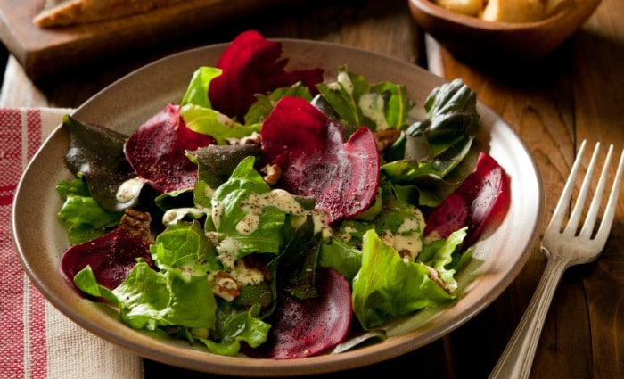 Roasted Beet, Goat Cheese, and Maple Pecan Salad