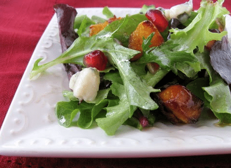 Roasted Butternut Squash, Pomegranate, and Roquefort Salad