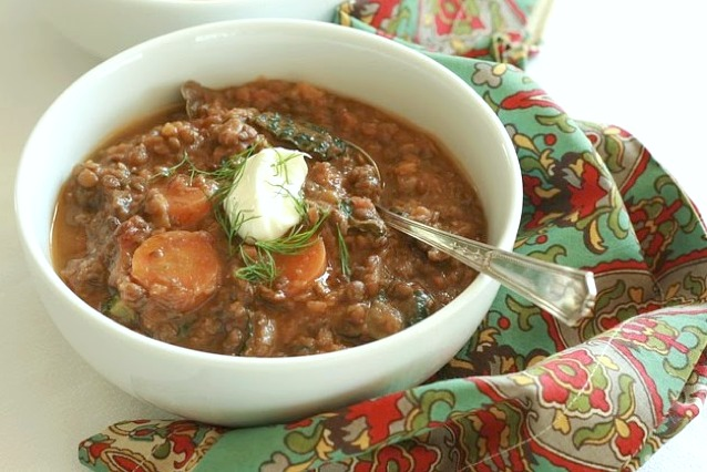 My kids thought they wouldn't like this lentil, carrot and kale soup, but I'm happy to report they ate every last spoonful and requested I make it again! It's a nourishing soup that is great for any meal of the day.