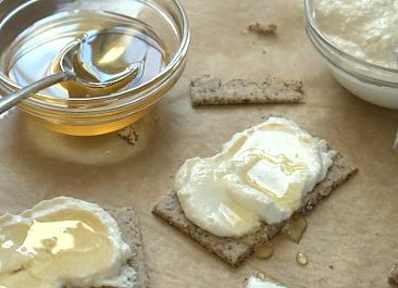 Almond Poppyseed Crackers with Ricotta and Honey - Deliciously Organic