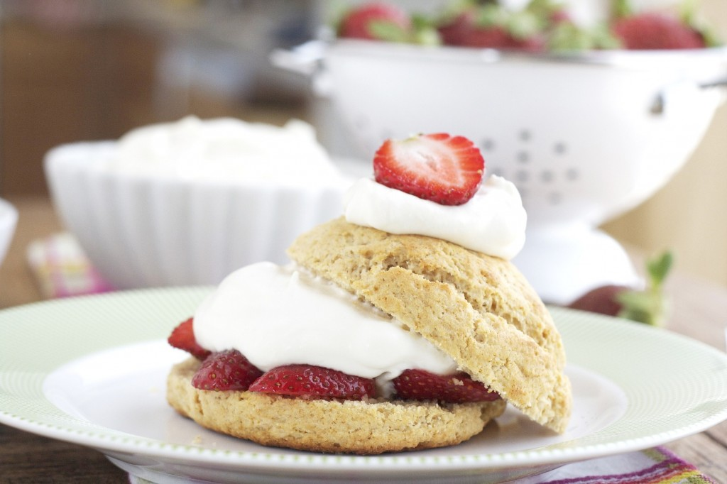 Not too dense, not too sweet, this grain free strawberry shortcake is buttery, flaky, light, with honey-sweetened strawberries and whipped cream.