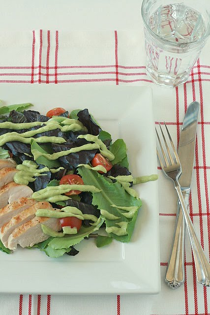 Grilled Chicken and Baby Romaine Salad with Avocado Dressing