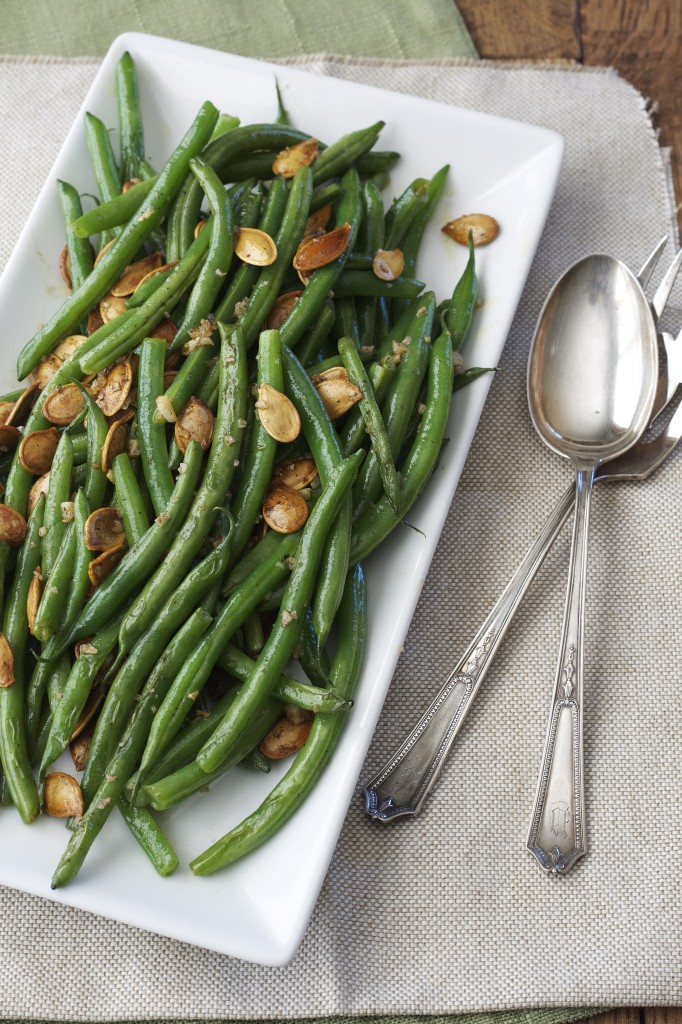 I love the simplicity of these green beans blanched and tossed with brown butter, garlic and pepitas. Who can pass that up?