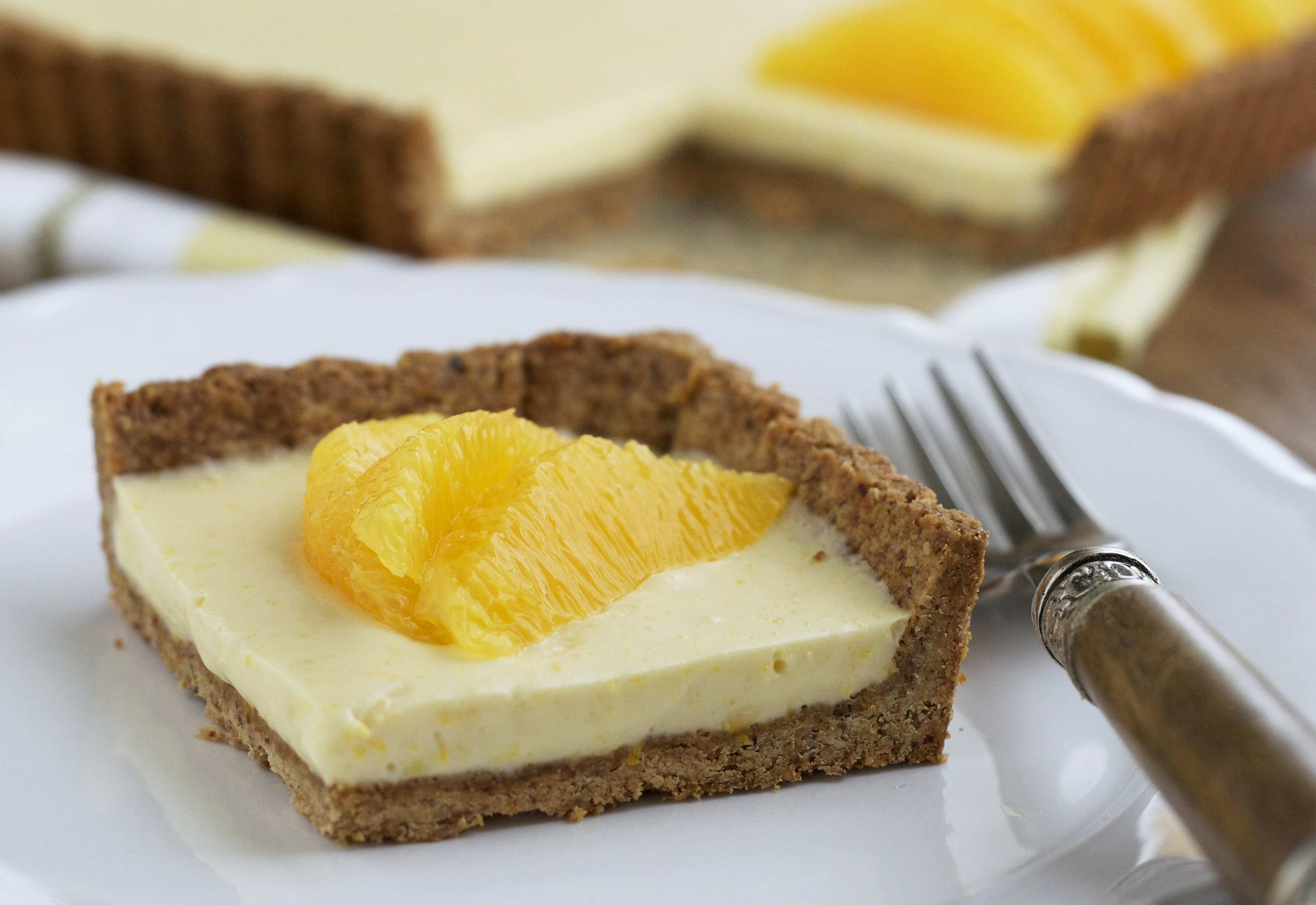 Cream Tart with Oranges and Toasted Almond Crust - Deliciously Organic
