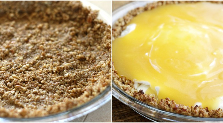 Lemon Meringue Ice Cream Pie with Toasted Pecan Crust