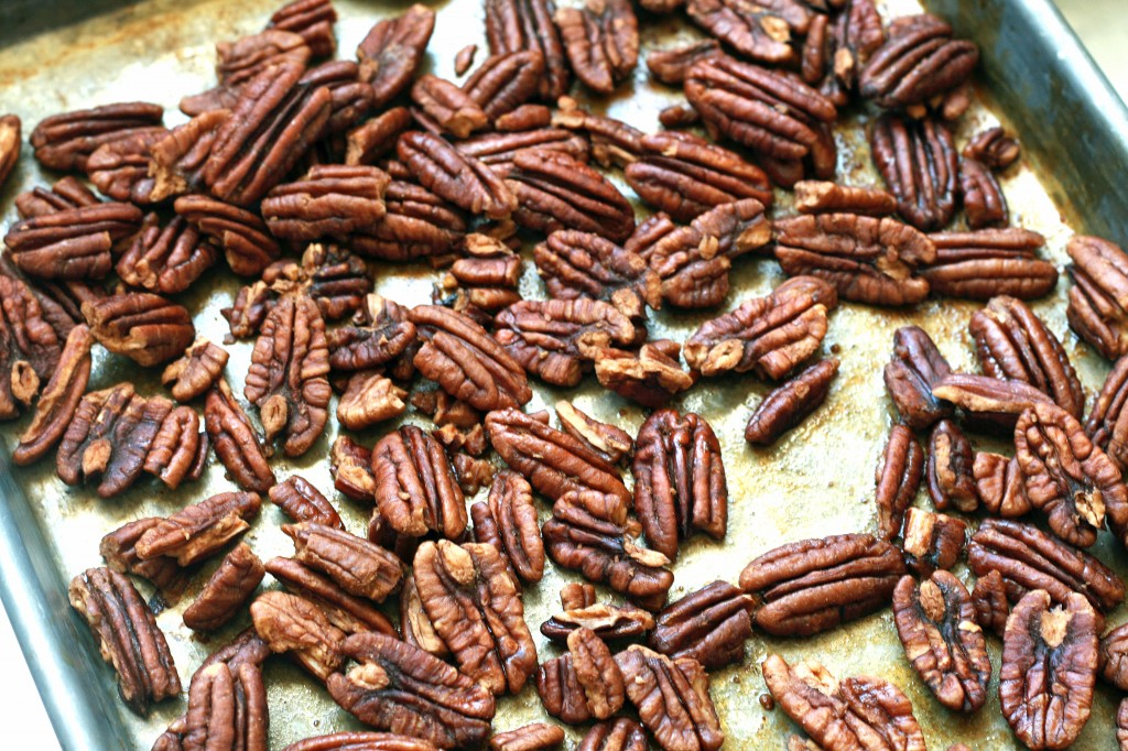 Sweet crispy pecans are a perfect addition to any lunch or snack! This recipe can be adapted using any nut you choose.