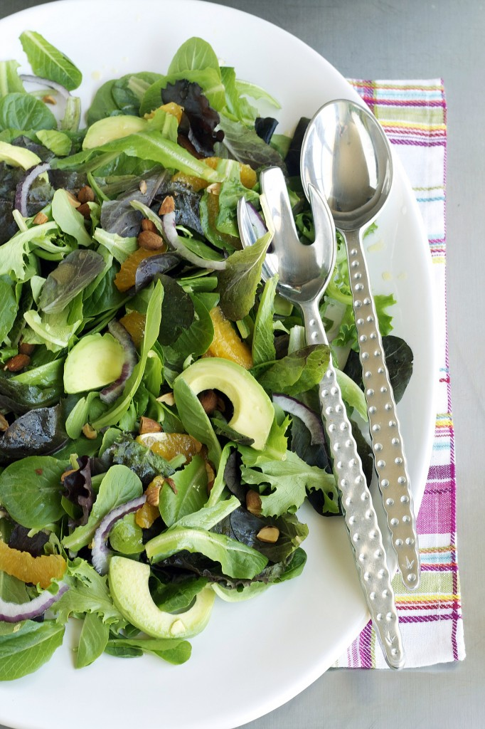 Filled with good vegetables, a touch of fruit and some healthy fats, this salad makes a nice compliment to fish or chicken, or in a large portion, a full meal.