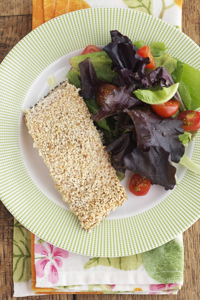 You won't even miss the the breading in this sesame crusted salmon, I promise! Pair it with a side salad for an easy weeknight meal!