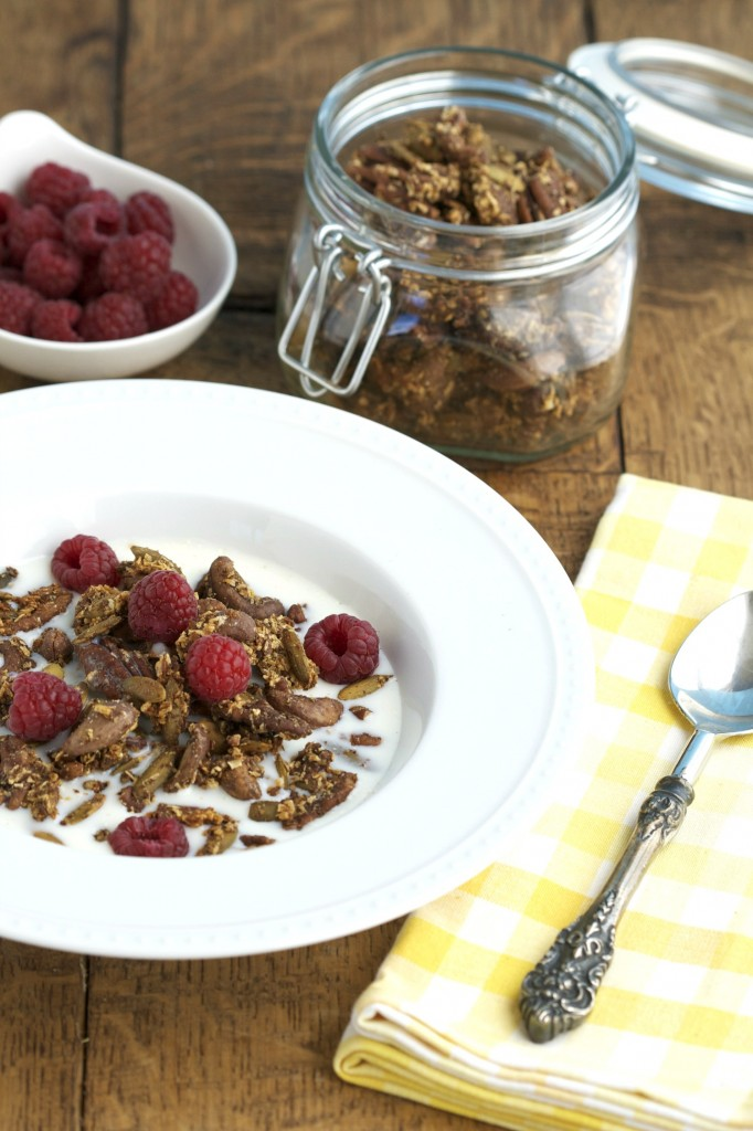 This grain free granola makes for a quick snack, packs easily for trips, and is the perfect substitute for processed cereal.