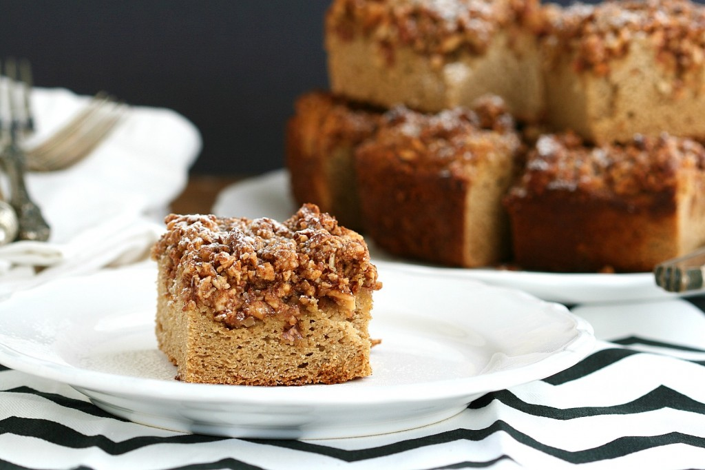 A coffee cake that's not too sweet. Moist, with a crumbly topping. A delicious, organic breakfast suggestion, from my family to yours.
