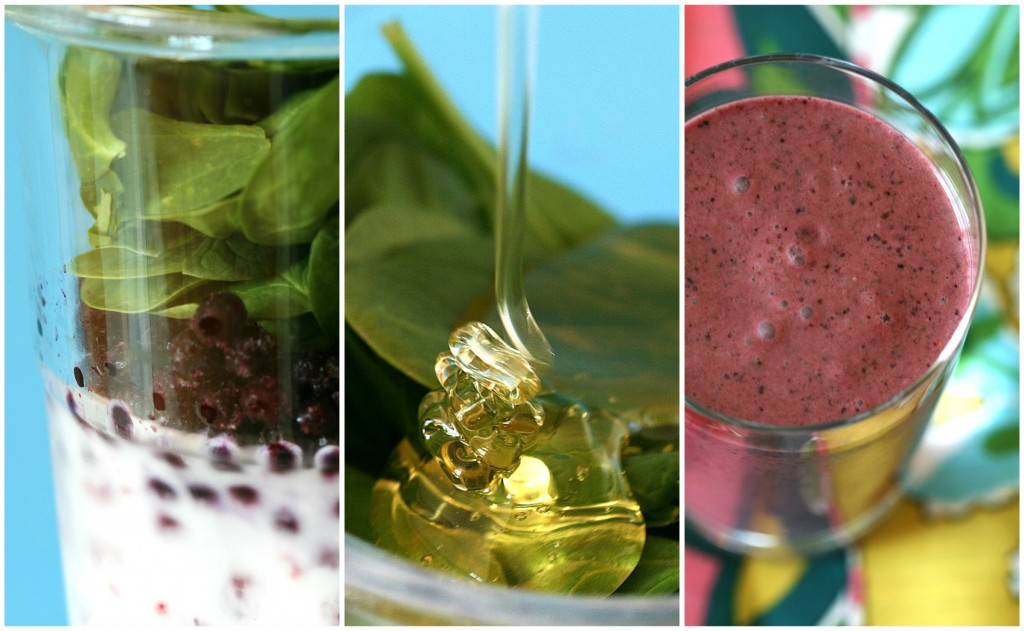 This smoothie is sweet blend of coconut, blueberry, raspberry, spinach and a touch of honey.
