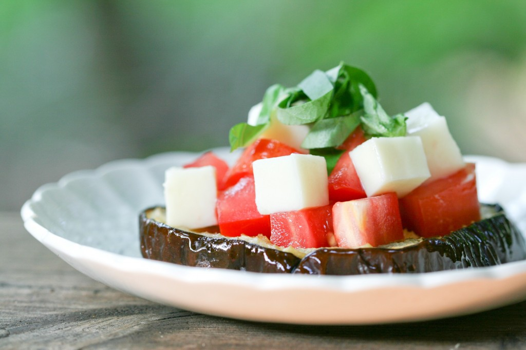 Roasted Eggplant with Mozzarella, Tomatoes and Basil via DeliciouslyOrganic.net #grainFree