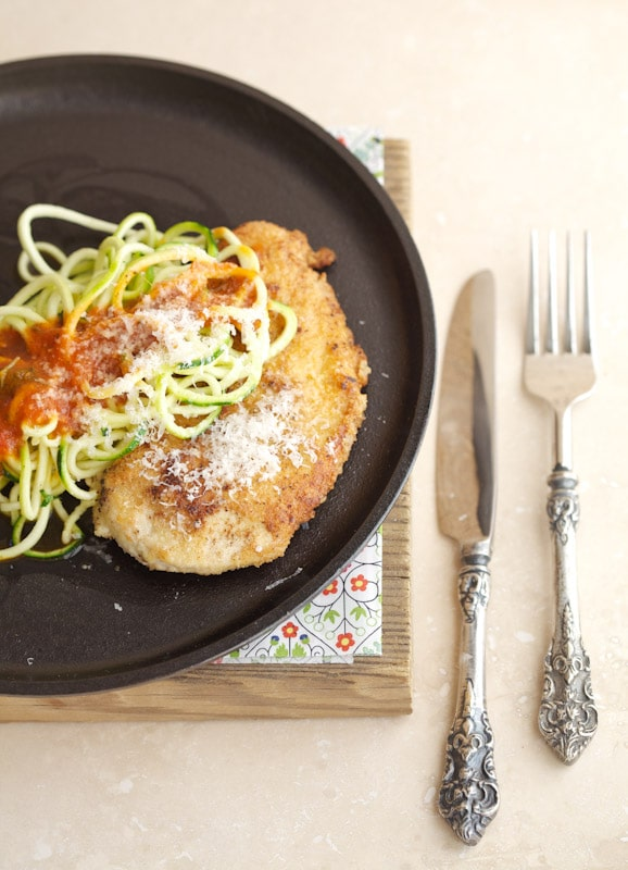 I've served these zoodles with many other sauces and vegetables, but they are just so amazing when paired with chicken parmesan.