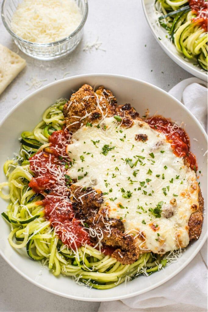 Chicken Parmesan with Zucchini Noodles (Grain Free, Paleo, Gluten Free)
