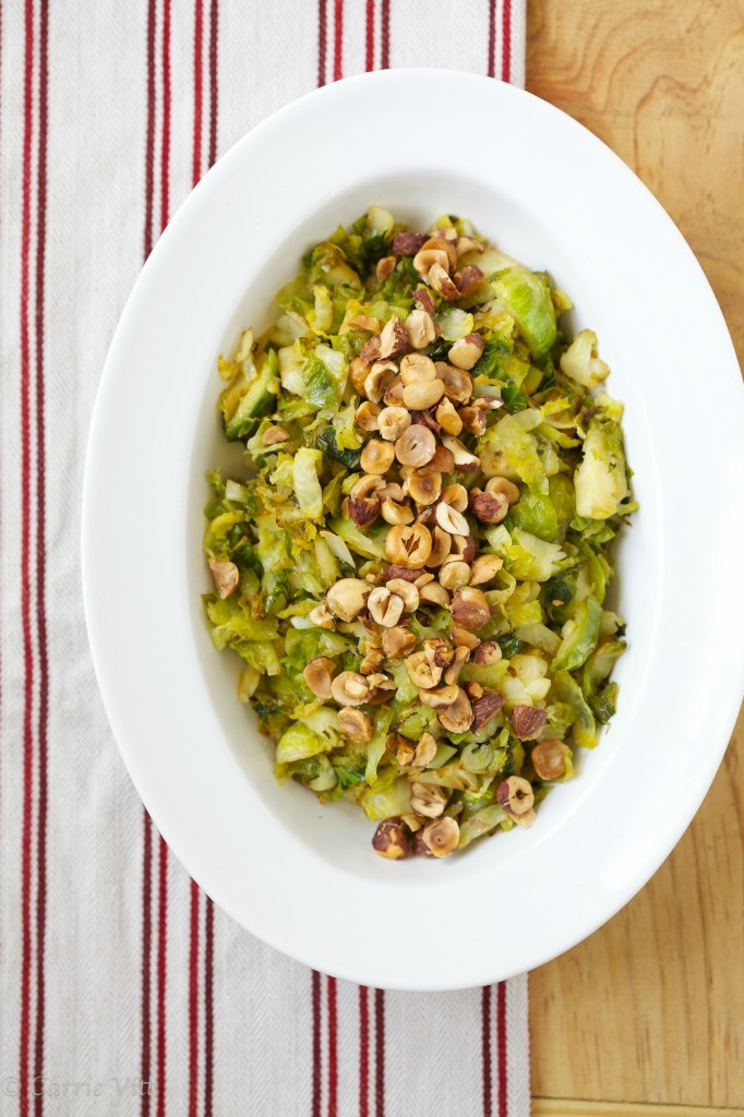 A bit of browning, some ghee, lemon and crunchy hazelnuts fill this weeknight brussels sprouts side dish with nutrients and flavor.