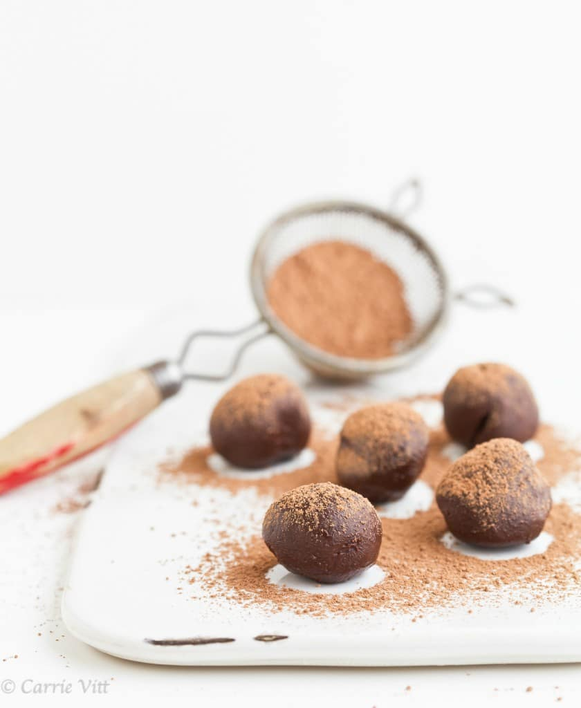 These Paleo chocolate truffles will melt in your mouth! You can add different extracts to them to change the flavor.
