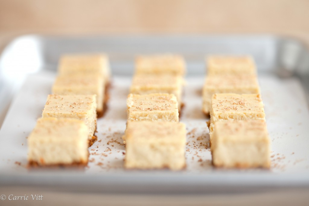 Eggnog Cheesecake Bars | DeliciouslyOrganic.net (Grain Free)