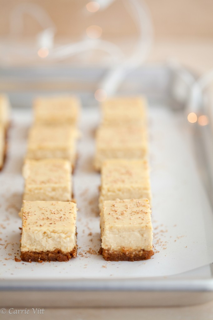 Make these eggnog cheesecake bars using homemade cream cheese for an amazing grain free dessert. Perfect for holiday parties!