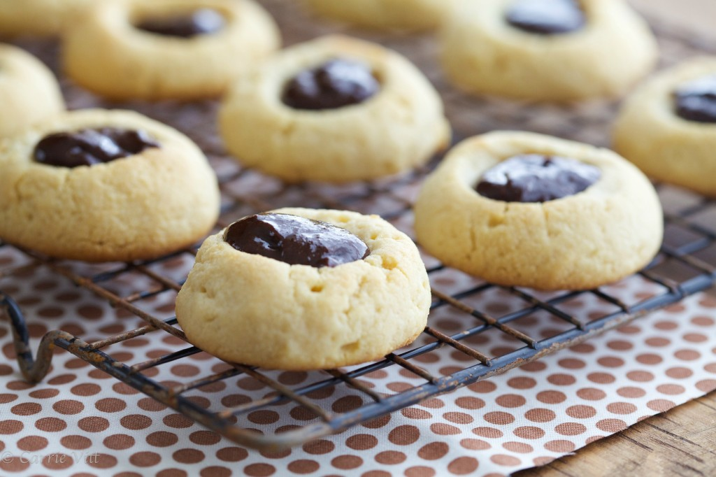 Thumbprint cookies are icons of the holiday season for me, but you don't need to limit them just to Christmastime! Usually filled with a Hershey's kiss, my cookies feature homemade chocolate hazelnut spread.