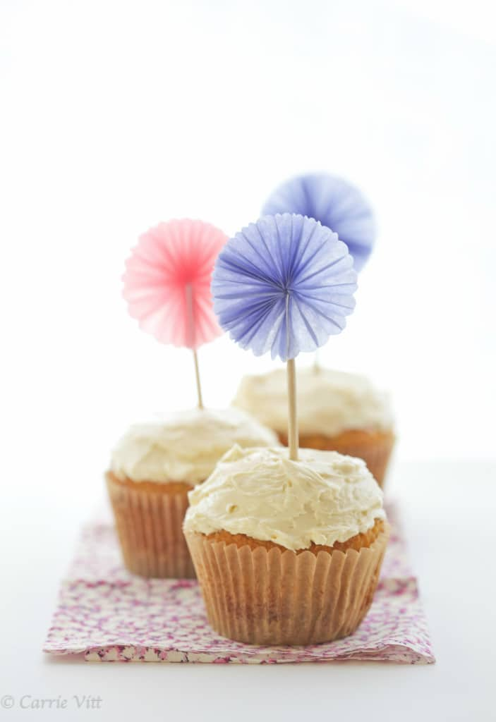 These grain-free cupcakes are made with coconut flour and are a cinch to throw together. The maple buttercream frosting paired with it in this recipe isn't too sweet and you won't believe how creamy it is!