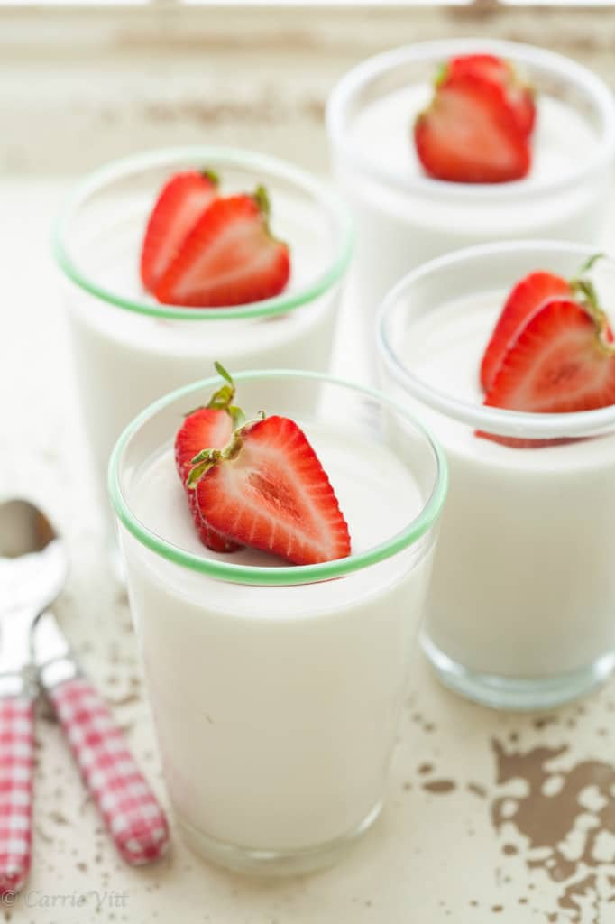 Panna Cotta a popular dessert because it's smooth, creamy, and not too sweet. Top this Paleo version with berries, and you have the perfect light dessert.