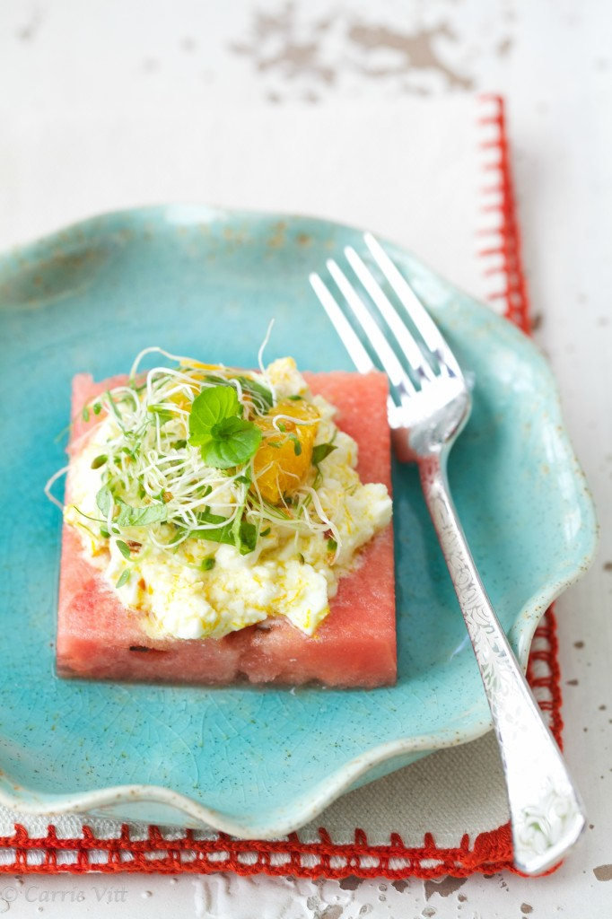 Watermelon and Baked Feta Salad via www.DeliciouslyOrganic.net #grainfree