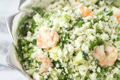 "Shrimp and ""Orzo"" Salad via www.DeliciouslyOrganic.net #grainfree #paleo"