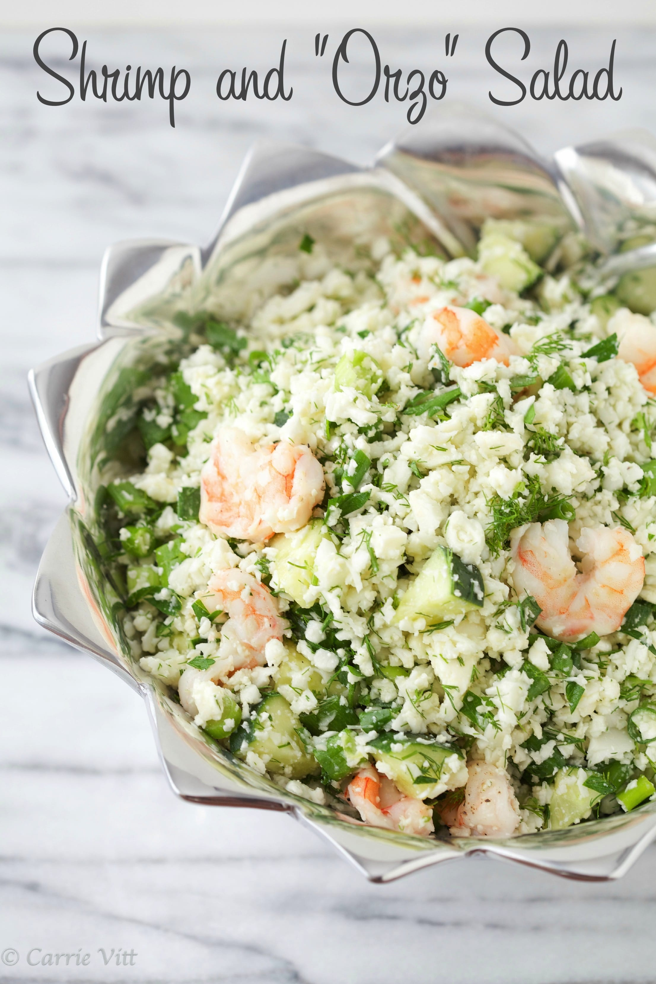 "Shrimp and ""Orzo"" Salad (Grain Free, Primal, Paleo)"