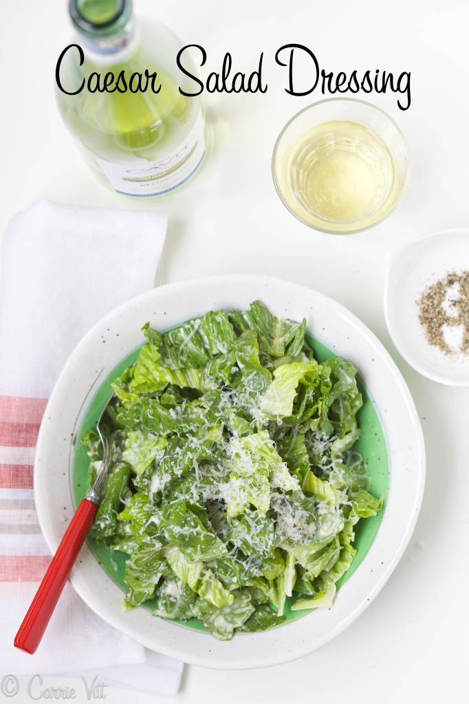 I've been making my Mom's Caesar Salad Dressing ever since I was a kid. You can simply toss it with romaine and serve or add extra protein via grilled chicken or shrimp.