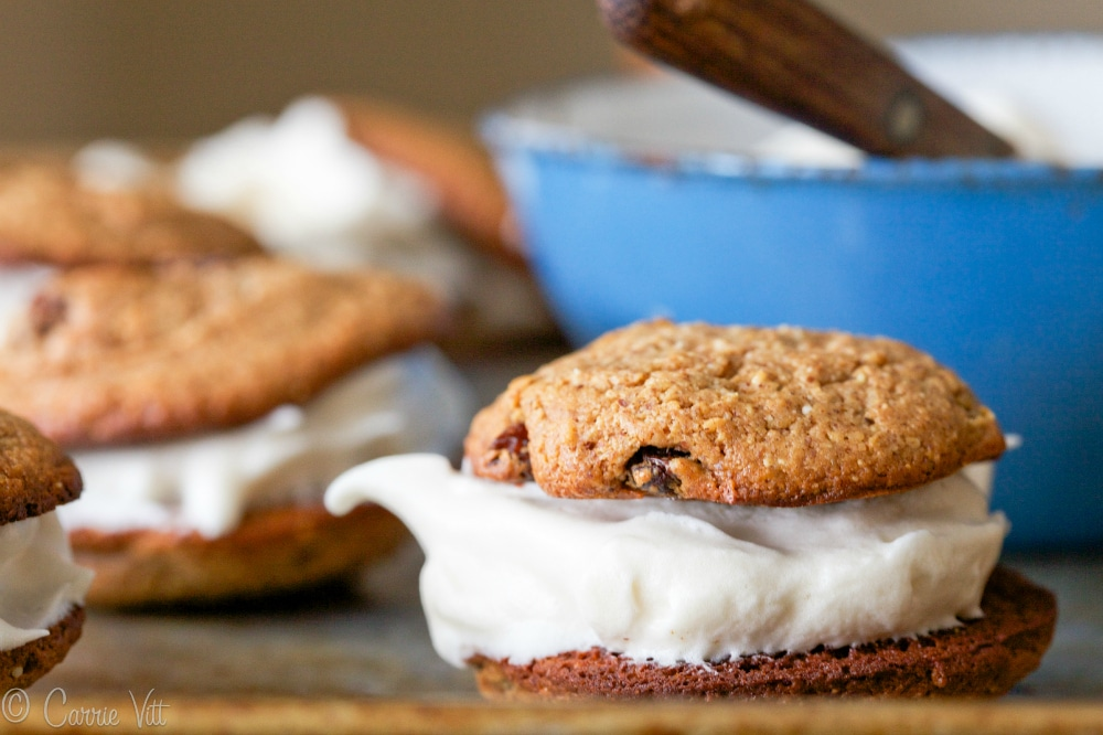 The coconut flakes and cinnamon give the flavor and texture of oatmeal cookies without the grain. You can eat them alone or add a quick and easy marshmallow filling.