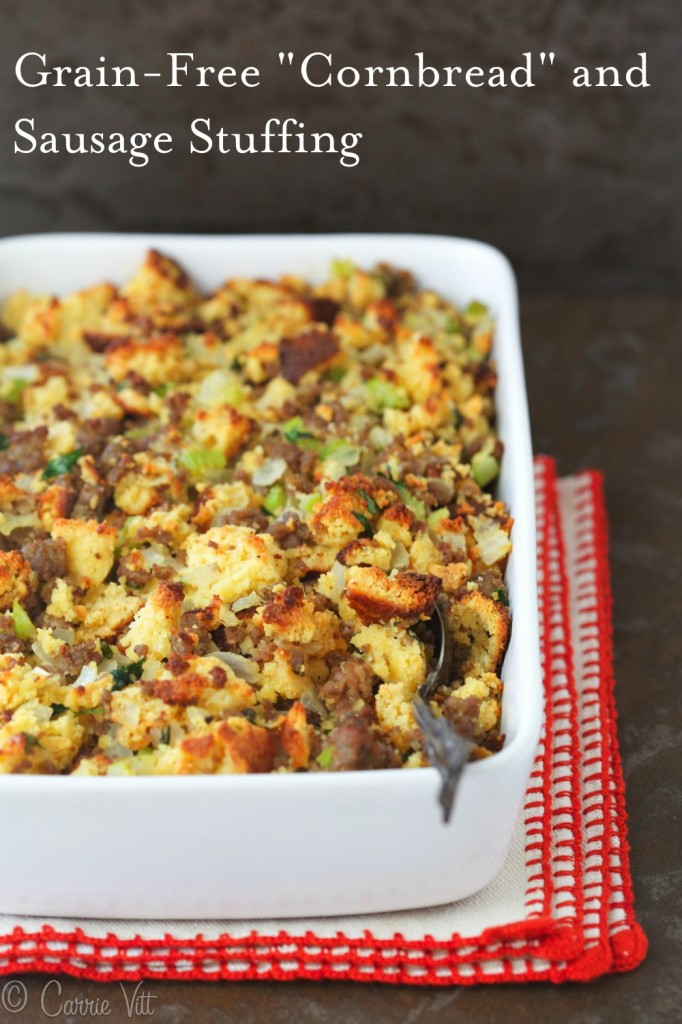 Cornbread and Sausage Stuffing - Homemade grain-free Paleo 'cornbread,' sauteed onions, celery, sausage, chicken stock, eggs and herbs make for a nutrient dense and healthy addition to the dinner table.
