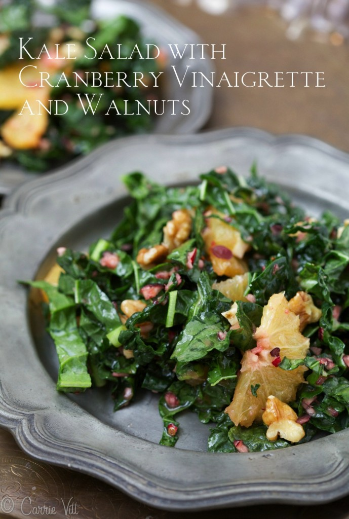 You can slightly saute the kale or leave it raw in this salad. You can change up the flavor of this salad by using other fruits, nuts or seeds, but I love the taste of the cranberries!