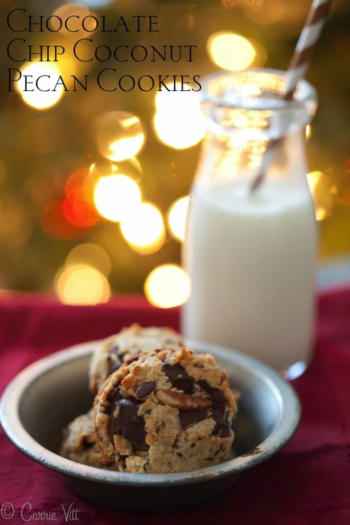 I love these chocolate chip coconut pecan cookies. I love them even more because they're grain free!