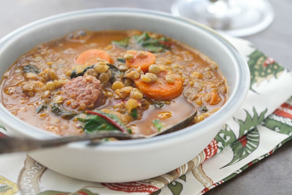 Lentil Soup with Swiss Chard and Sausage - Deliciously Organic