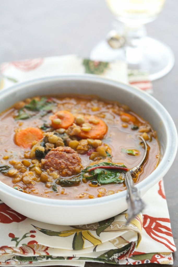 Lentil Soup with Swiss Chard and Sausage - I soaked these lentils for 24 hours and then combined them with homemade chicken stock, aromatics, sausage and chard.