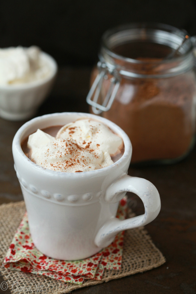 You can make a large batch of hot cocoa mix and store it in an airtight container indefinitely. Add some whipped cream or a honey-sweetened marshmallows for a delightful snow-day indulgence.