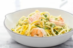 Shrimp scampi in 20 minutes? Yes, please! Fresh shrimp, lemon, parsley, garlic and vegetable noodles make for a quick, spring meal.