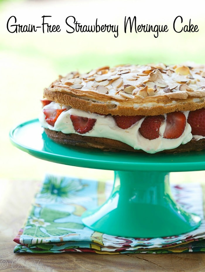 Strawberry Meringue Cake - It's subtly sweet, decadent and makes for a lovely presentation.