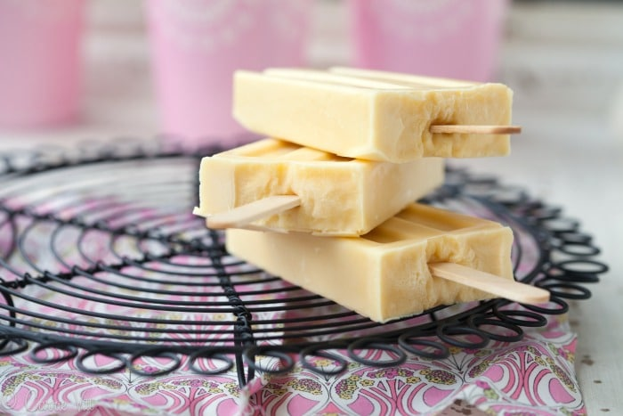 These creamy nutrient-rich vanilla pudding pops provide a quick and easy favorite for a hot day. Dipping them in the homemade magic shell makes them taste A-mzing!