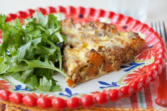 You can make this frittata recipe by mixing up the vegetables, meats, herbs and cheeses. Use white potatoes, omit the cheese, add some greens, etc. Make it your own!