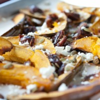 Roasted Acorn Squash with Dates, Pumpkin Seeds and Goat Cheese & an Organic Whole Turkey Giveaway
