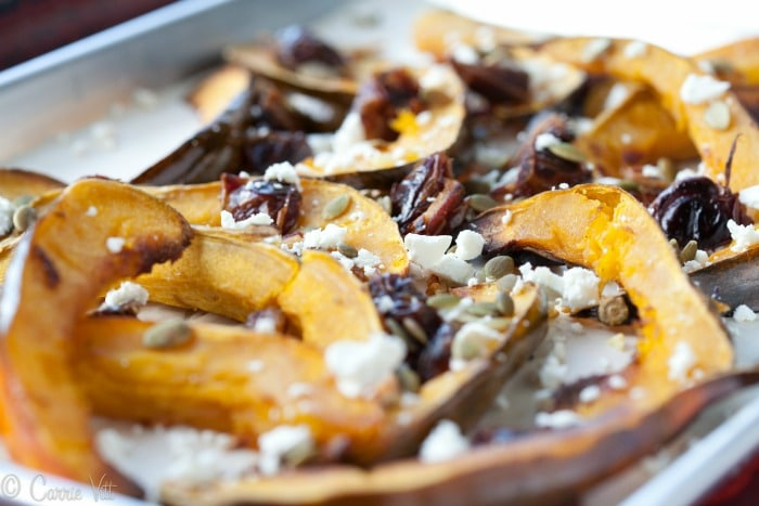 Roasted Acorn Squash - Throughout the fall and winter, I roast various kinds of squashes, then toss with herbs, nuts, seeds, dried fruits and cheeses.