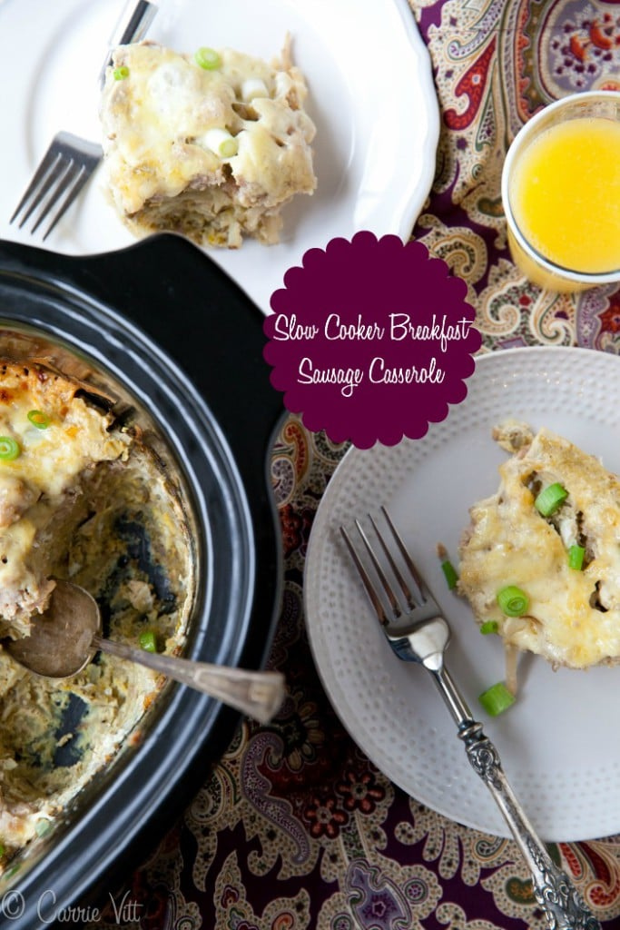 This crockpot sausage breakfast casserole is great to make for company! Plus, prepping it the night before allows you to spend more time with friends and family.