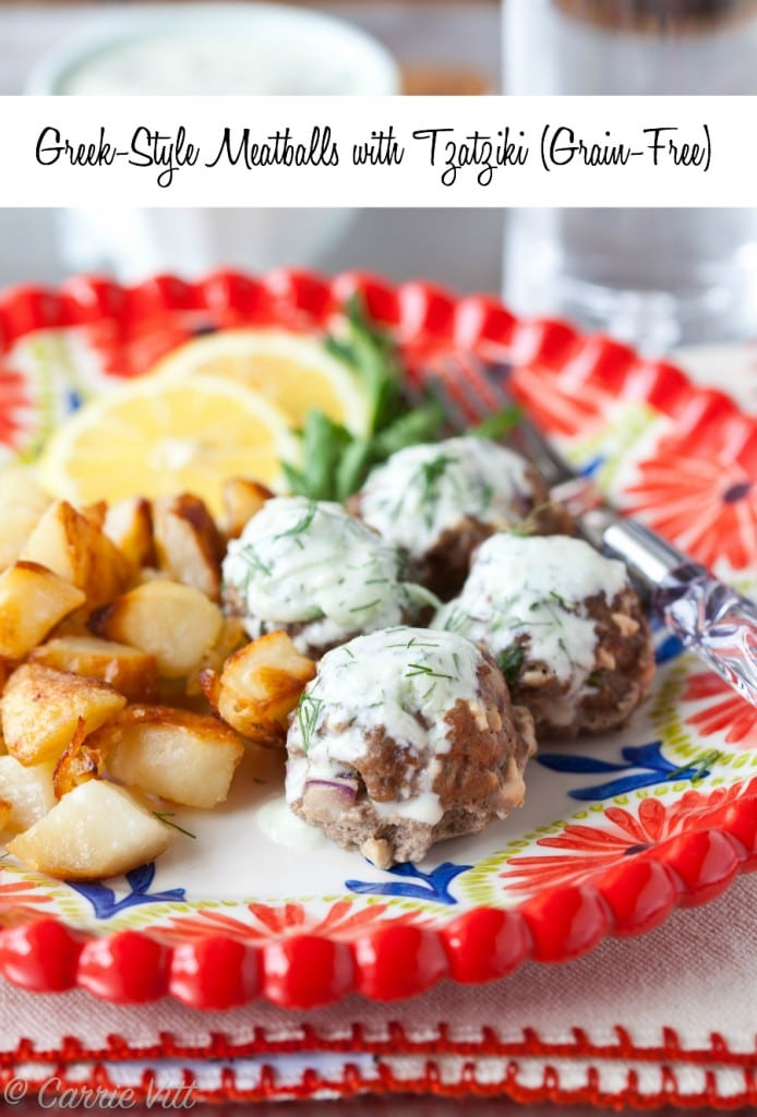These Greek meatballs are delicious on their own, but can be taken to a whole new level with tzatziki sauce. The meatballs can be made ahead of time and frozen after baking.