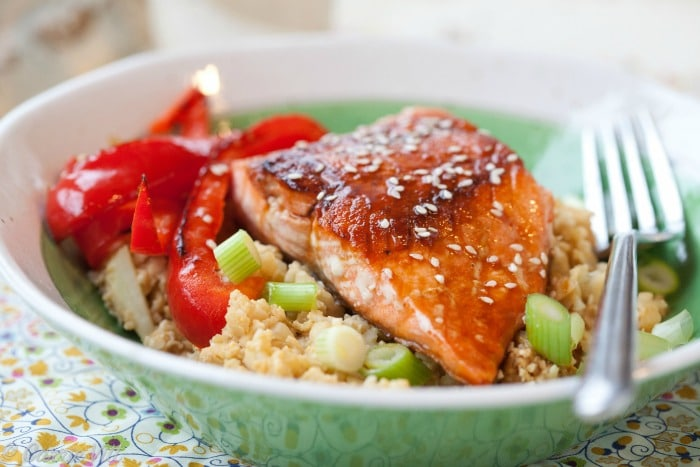 Delicious Teriyaki Salmon comes together in a matter of minutes. I like to serve it with Cauliflower Fried 'Rice' or I sometimes chop up extra vegetables with the bell pepper for a more colorful meal.