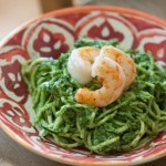 Thumbnail image for Kale Pesto with Zucchini Noodles and Sautéed Shrimp