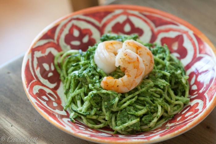 Zucchini Noodles with Kale Pesto and Shrimp