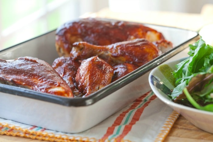 If you're scared of grilling like me, this oven BBQ chicken is perfect. The homemade BBQ sauce can be made days ahead of time for an quick & easy dinner!