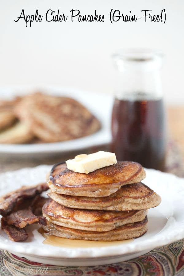 These fluffy apple cider pancakes feature coconut flour, spices and reduced apple cider and get drizzled with maple syrup. They freeze well and can be reheated in the oven during busy mornings.